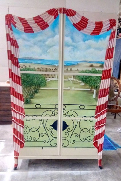 hand painted armoire with a Tuscan scene  by Sara Palacios Designs