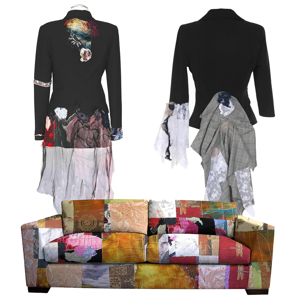 a patchwork sofa by Sara Palacios with a wall paper background of two jackets made by Sara Palacios