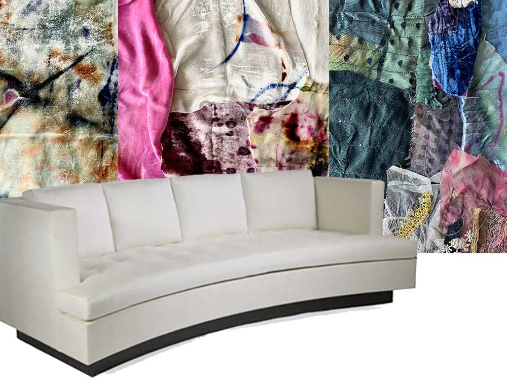 "<img src=""//cdn.shopify.com/s/files/1/1502/0886/files/assemblage_4_1024x1024.jpg?v=1583536585"" alt=""white sofa with samples of hand-painted,  patchwork, emboridered, block printed fabrics"" />"