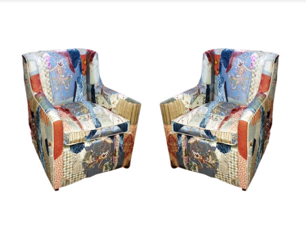 Custom swivel chairs upholstered in patchwork fabric - Sara Palacios Designs