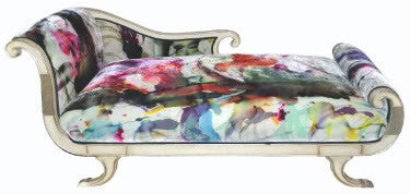 Chaise Lounge upholstered in handpainted fabric by Sara Palacios Designs
