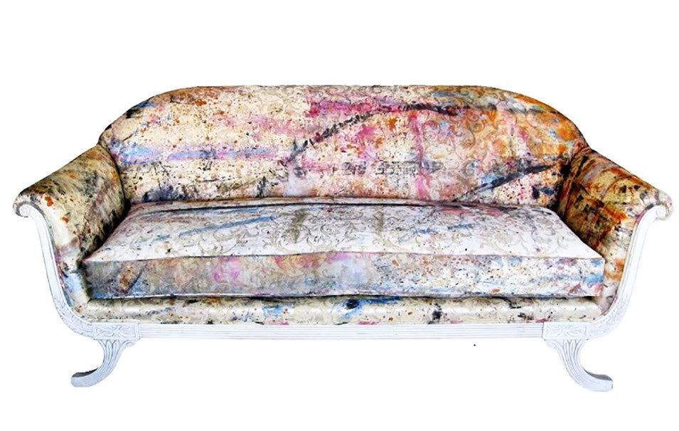 Custom sofa upholstered in hand painted fabric by Sara Palacios Designs