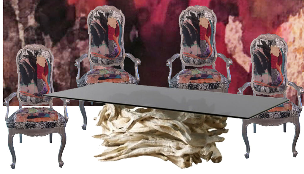 custom driftwood table, with silver chairs upholstered in patchwork fabric with a hand painted velvet wall hanging by Sara Palacios