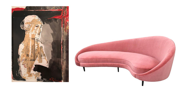 sofa in the style of ico parisi with a collage by Sara Palacios