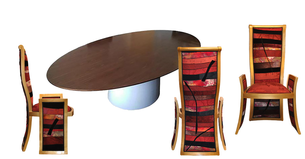 modern dining table with unique dining chairs