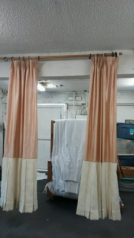 custom curtain panel made out silk with a burlap border