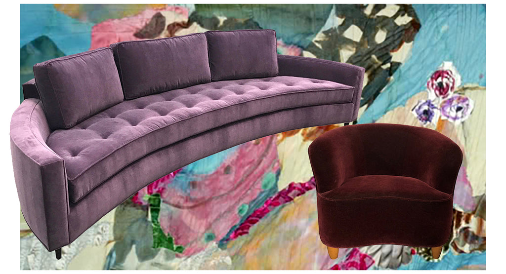 purple curved sofa with a red velvet chair and the background is a handcrafted fiber collage by Sara Palacios