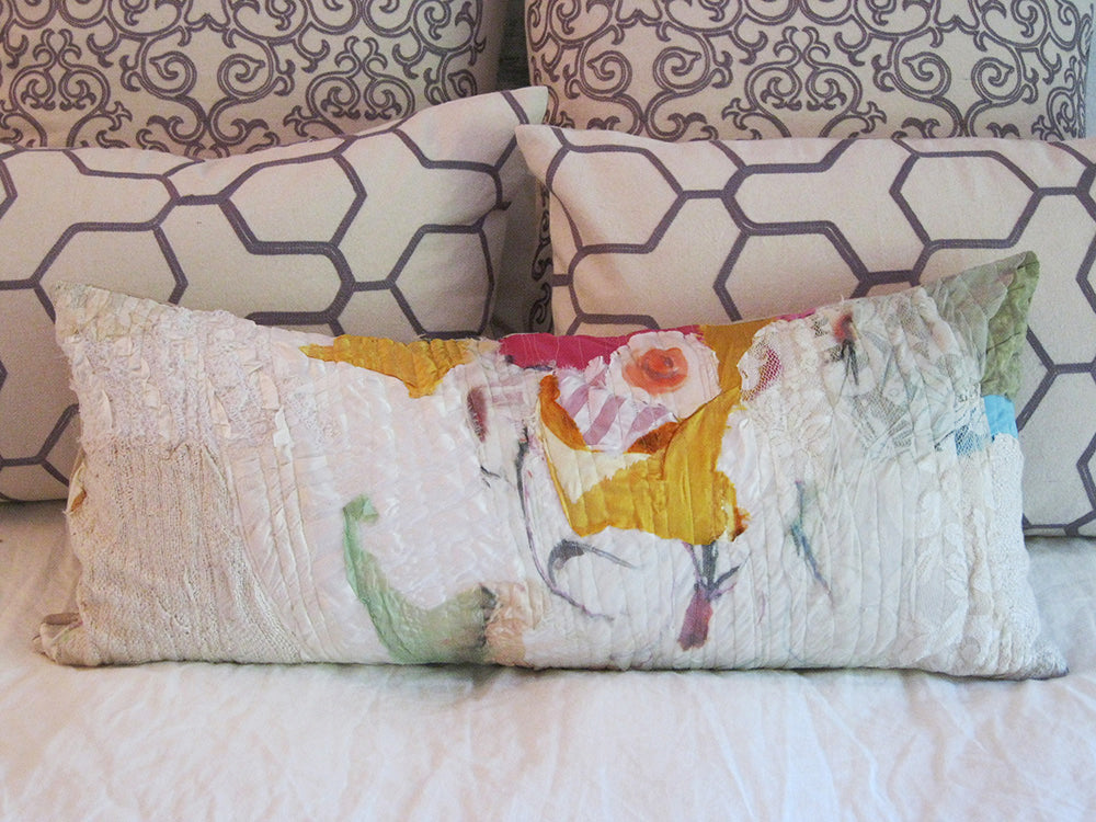 white, yellow lumbar pillow for bed