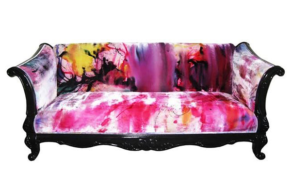 custom sofa upholstered in hand painted velvet - Sara Palacios Designs