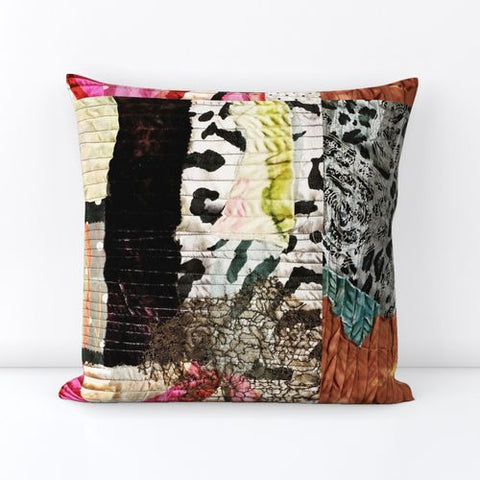 Square Patchwork Printed Velvet Throw Pillows - Style 3a