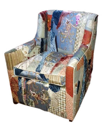 Swivel Chair upholstered in handcrafted fabric by Sara Palacios Designs