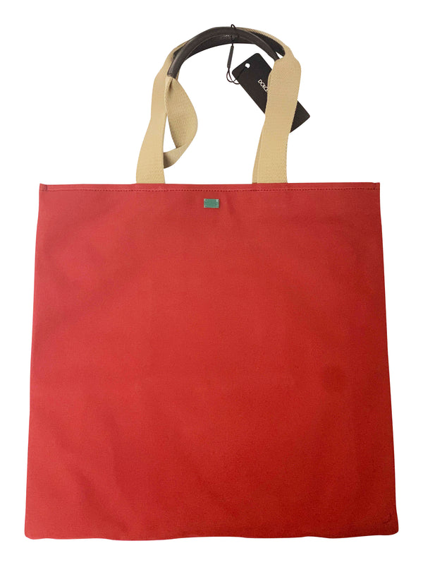 Dolce and Gabbana Womens Red Logo Print Canvas Tote Bag - ACCESSX