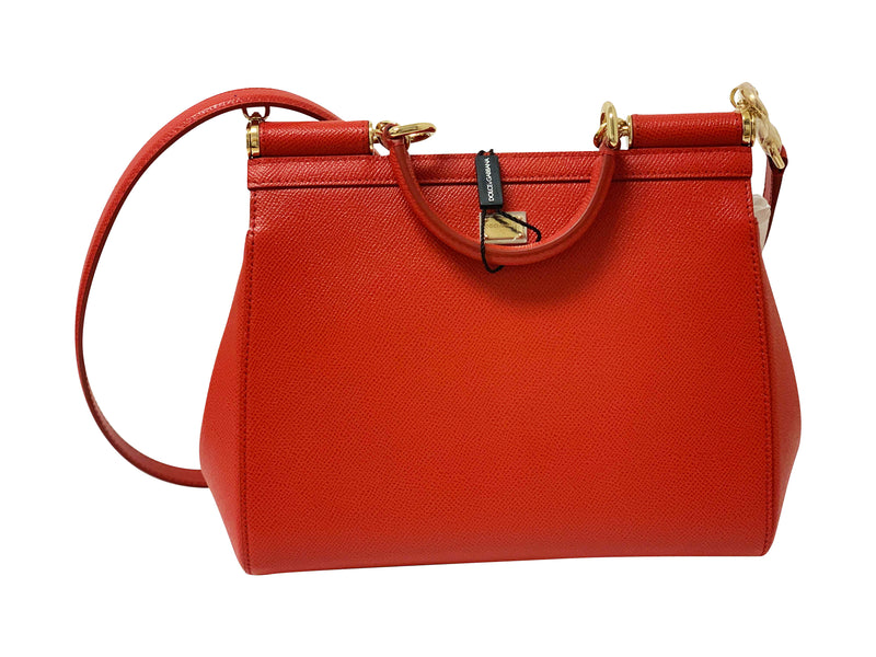 Dolce and Gabbana Womens Red Leather Printed Satchel - ACCESSX