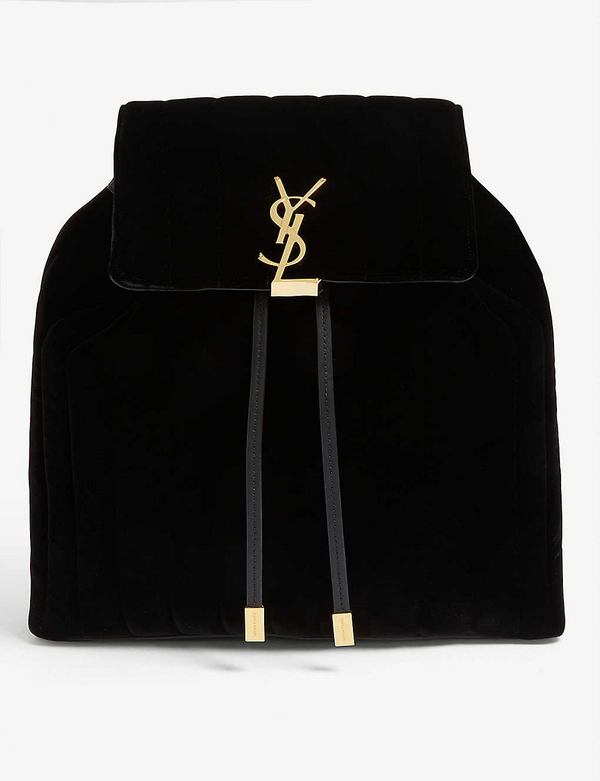 Saint Laurent Vicky monogram velvet backpack - ACCESSX