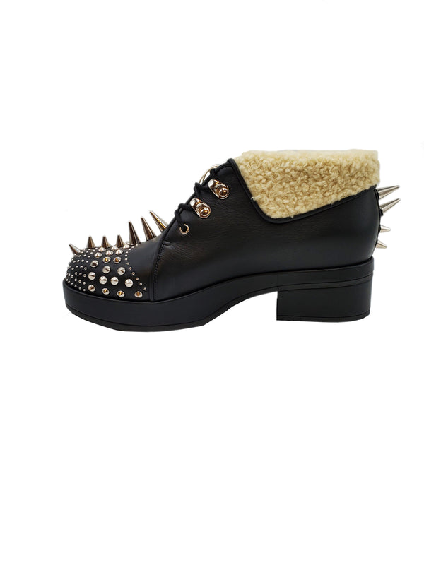 Gucci Shearling-trimmed Spiked Leather Boots - ACCESSX