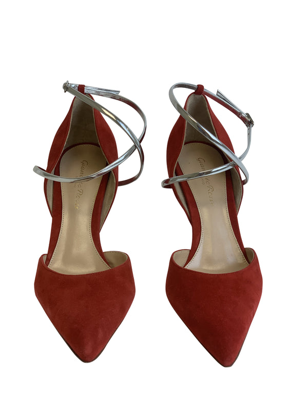 Gianvito Rossi 105 Red Suede Pumps With Silver Ankle Strap - ACCESSX