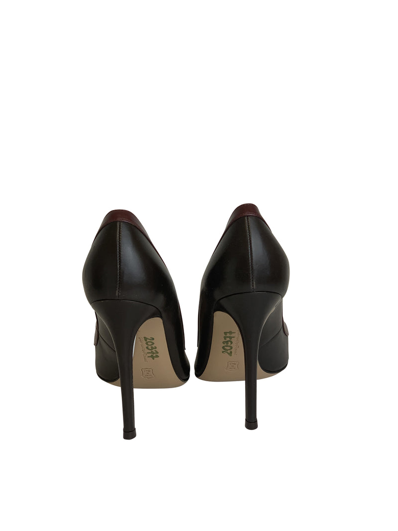 Gianvito Rossi Womens 105 Black/Red Leather Face Front Pumps - ACCESSX