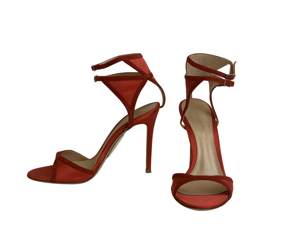 Gianvito Rossi Womens 105 Red Patched Heeled Sandal - ACCESSX