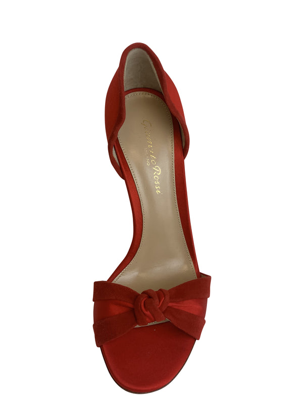 Gianvito Rossi Womens 105 Red Suede Bow Pumps - ACCESSX