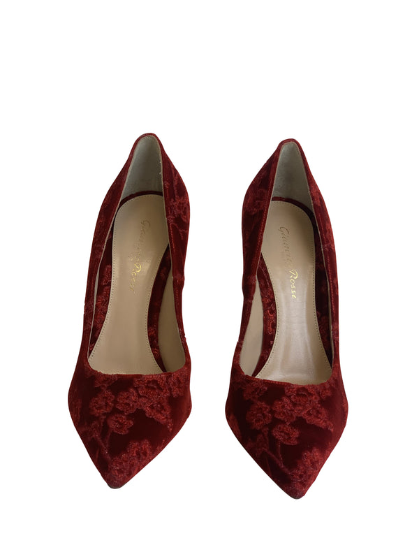 Gianvito Rossi Womens 105 Red Lace Leather Heels - ACCESSX