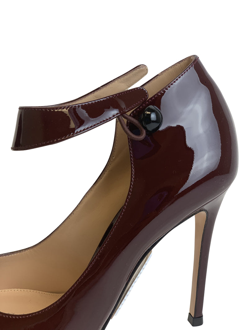 Gianvito Rossi Womens 105 Maroon Leather Buckle Ankle Strap - ACCESSX