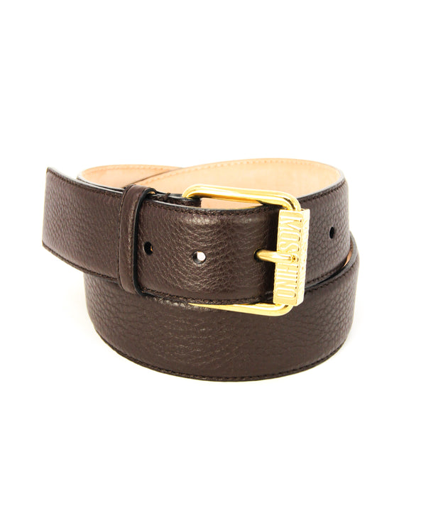 Moschino Embossed Brown Leather Belt - ACCESSX