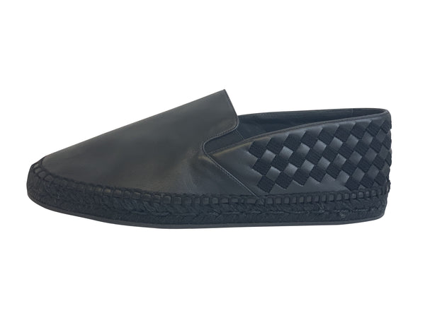 Bottega Veneta Mens Black Intrecciato Slip On Loafer
