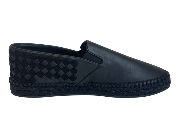 Bottega Veneta Mens Black Intrecciato Slip On Loafer - ACCESSX