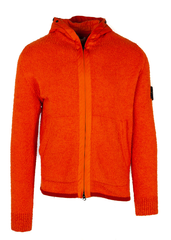 Stone Island Mens Orange Terry Knit Zip Hooded Jacket - Tribeca Fashion House