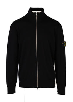 Stone Island Mens Black Wool Zip Up Cardigan - ACCESSX