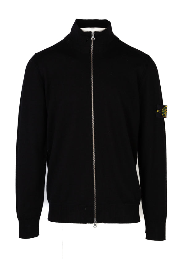Stone Island Mens Black Wool Zip Up Cardigan - Tribeca Fashion House