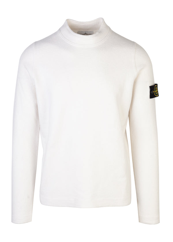 Stone Island Mens White Wool Knit Sweater - Tribeca Fashion House