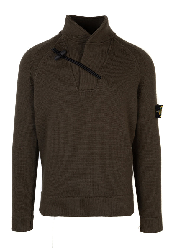 Stone Island Mens Green Wool Toggle Knit Sweater - Tribeca Fashion House