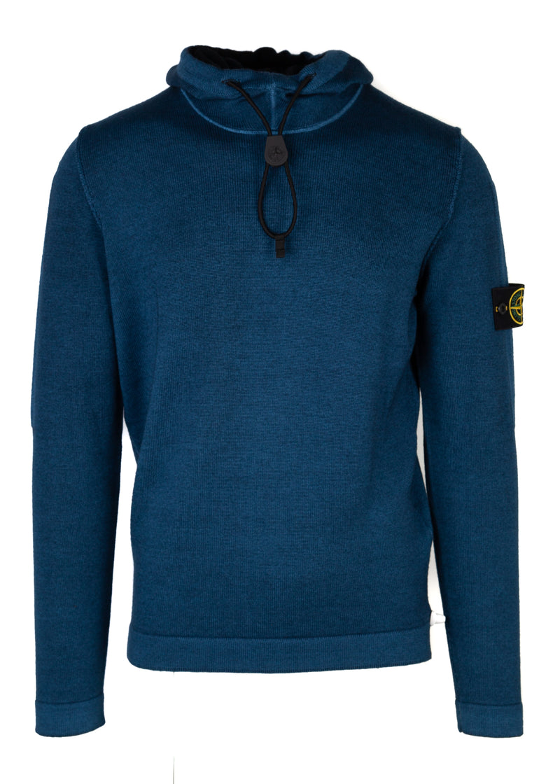 Stone Island Mens Blue Hooded Pull Over Sweater - Tribeca Fashion House