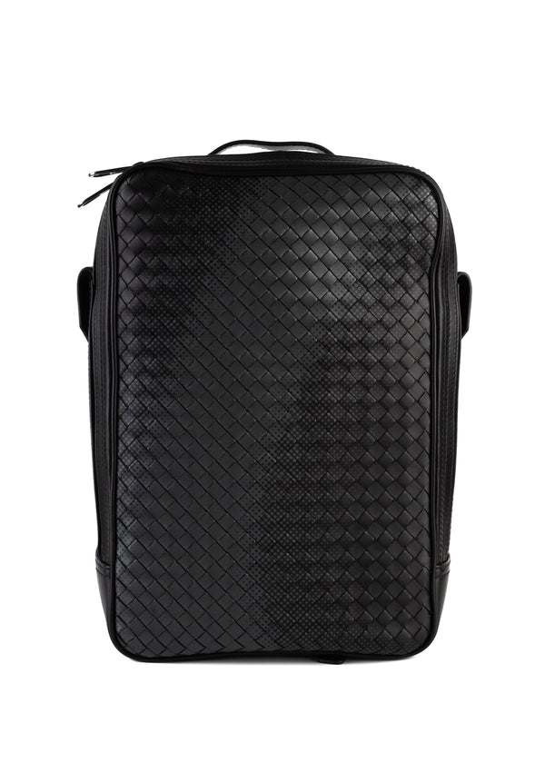Bottega Veneta Mens Black Nero Nappa Galaxy Intrecchiato Brick Backpack - Tribeca Fashion House