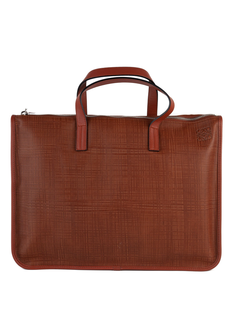 Loewe Mens Brown Textured Leather Briefcase - ACCESSX