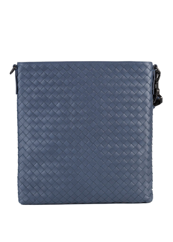 Bottega Veneta Mens Denim Intrecchiato VN Cross Body Messenger Bag - Tribeca Fashion House