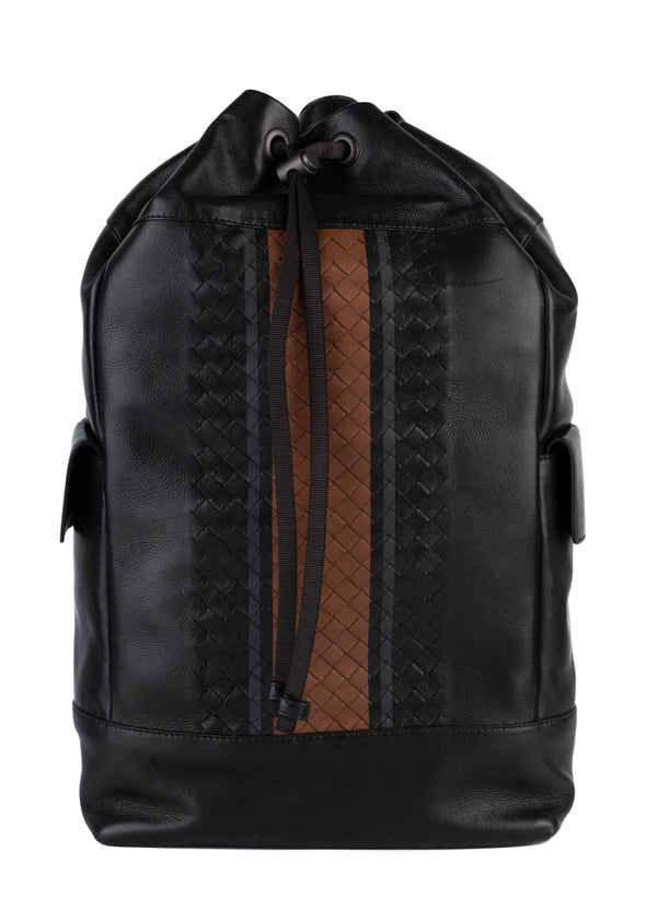 Bottega Veneta Mens Black Nero Vialinea Calf Leather Backpack - Tribeca Fashion House