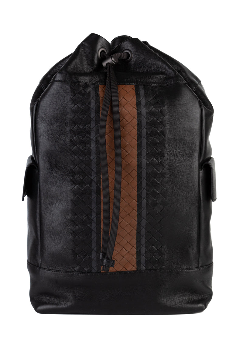 Bottega Veneta Mens Black Nero Vialinea Calf Leather Backpack - ACCESSX
