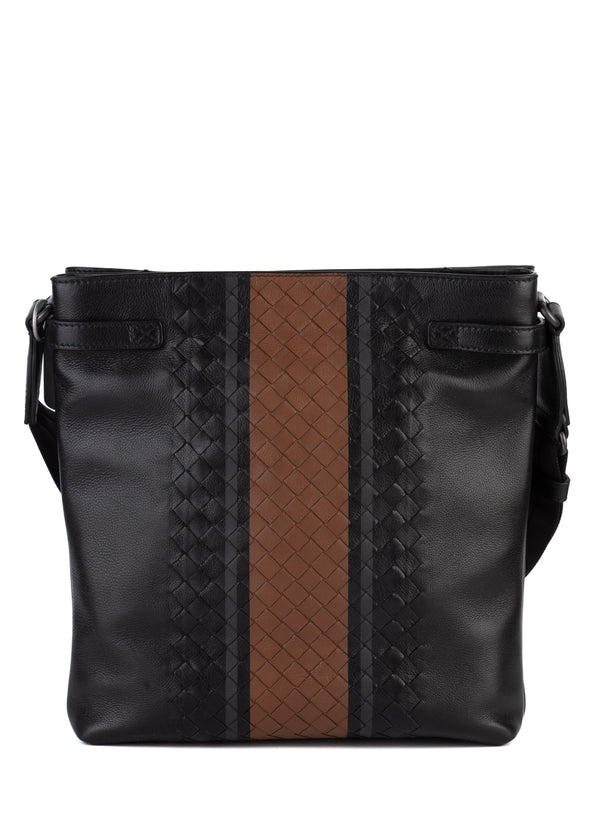 Bottega Veneta Mens Black Nero Vialinea Calf Messenger - Tribeca Fashion House