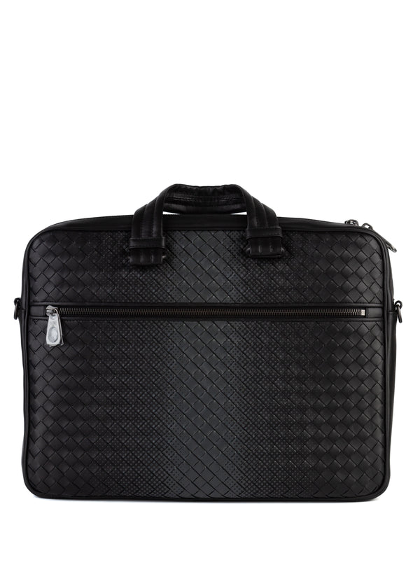 Bottega Veneta Mens Black Nero Galaxy Intrecciato Nappa Briefcase - Tribeca Fashion House