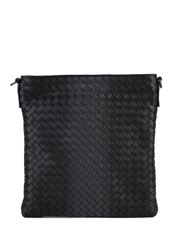 Bottega Veneta Mens Black Nero Galaxy Intrecciato Nappa Messenger Bag - Tribeca Fashion House