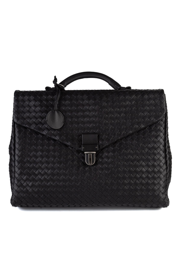Bottega Veneta Black Nero Intrecciato Small Briefcase - Tribeca Fashion House