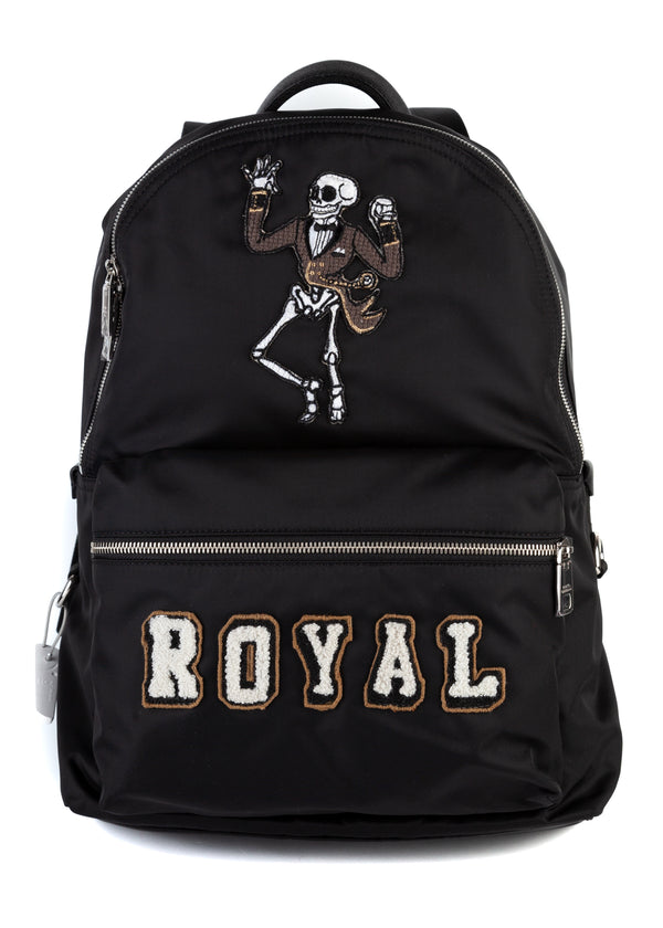 Dolce & Gabbana Mens Black Royal Skeleton Patch Volcano Backpack - Tribeca Fashion House