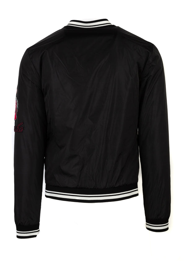 Dolce & Gabbana Mens Black Musical Patch Bomber Jacket - Tribeca Fashion House