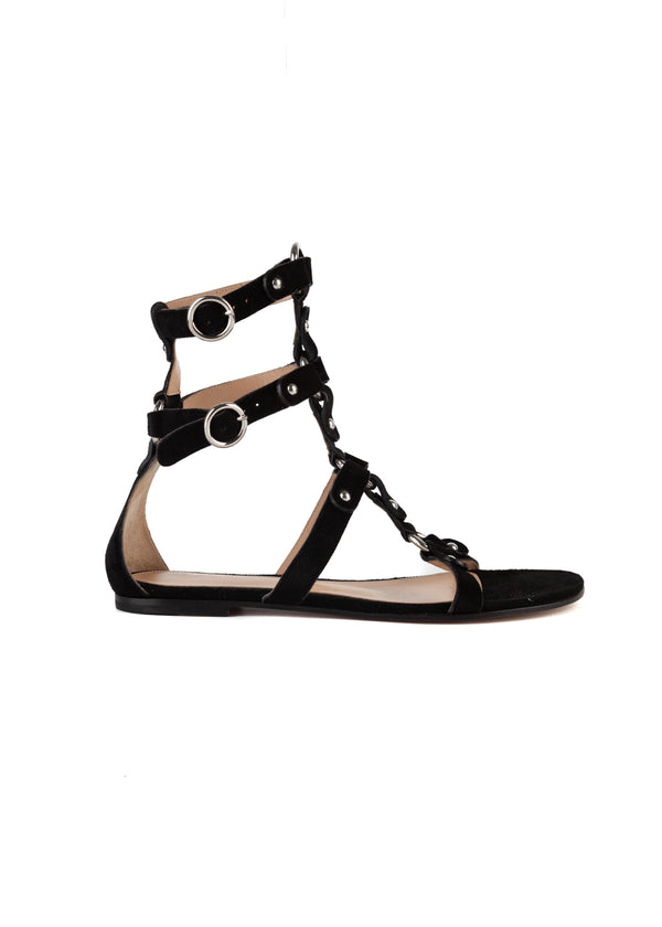 Gianvito Rossi Womens Black Velvet Strappy Accented Flat Sandals - Tribeca Fashion House