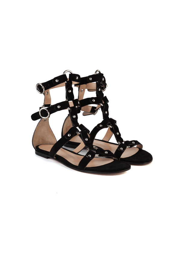 Gianvito Rossi Womens Black Velvet Strappy Accented Flat Sandals