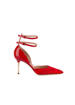 Gianvito Rossi Womens 85 Red Embroidered Satin Patent Leather Pumps - ACCESSX