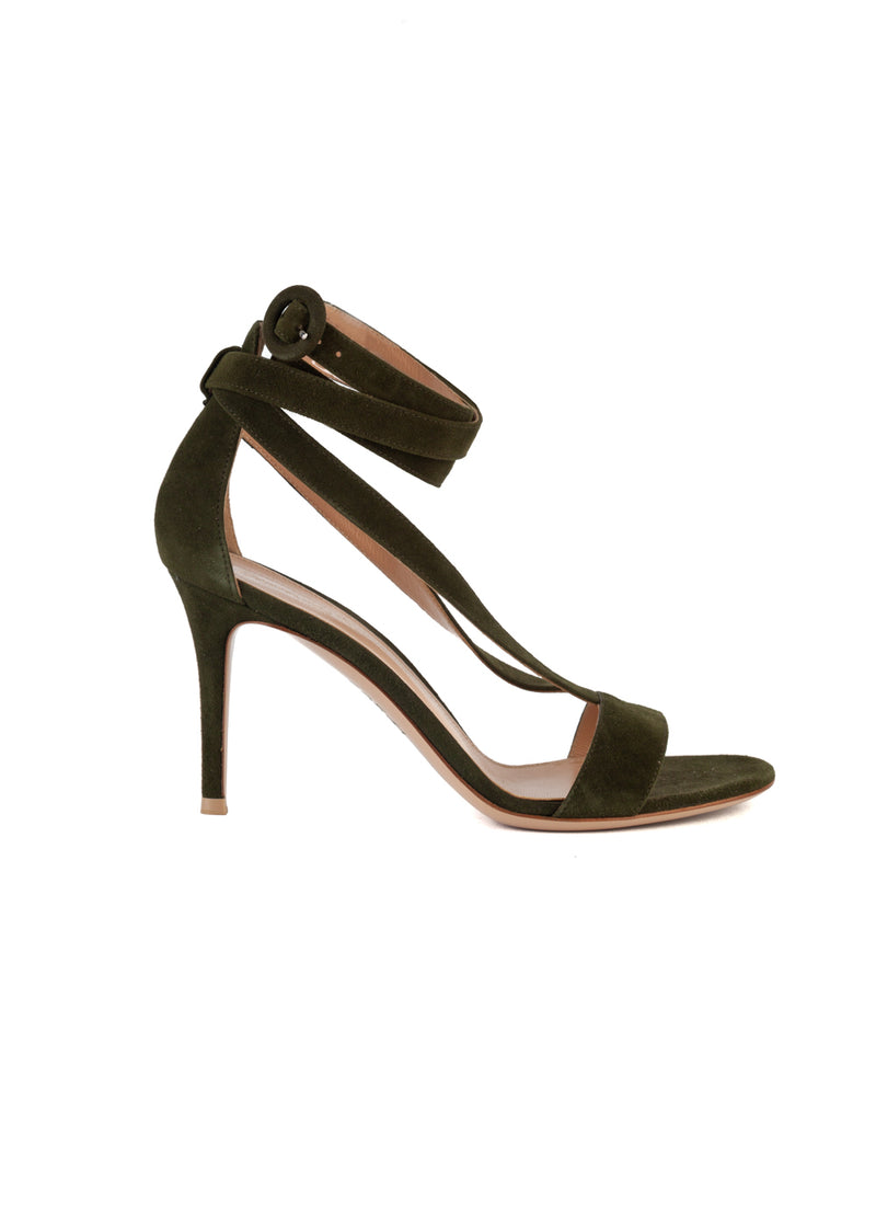 Gianvito Rossi Womens 85 Dark Green Suede Sandals - ACCESSX