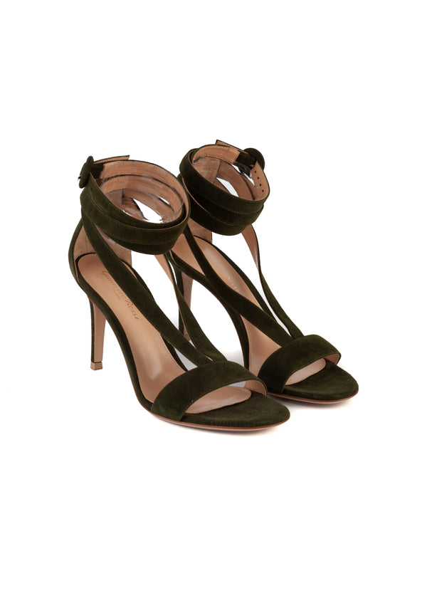 Gianvito Rossi Womens 85 Dark Green Suede Sandals - Tribeca Fashion House